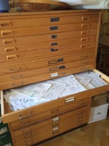 Det stora dokumentskåpet som innehåller alla originalmönster